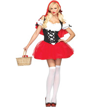 Adult Women Halloween Costume Little Red Riding Hooded Fantasy Game Uniforms Fancy Dress