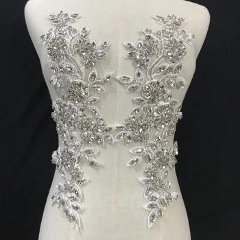 Hotsale big handbeaded embroidery appliques for wedding dress use. indian embroidery beaded appliques фото