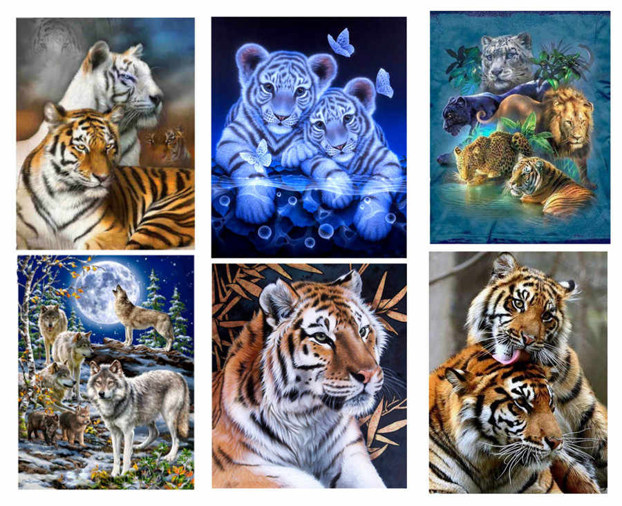 Diamond painting Leopard Tiger Under the moonlig wolf Animal Diamond Embroidery 5D DIY Cross Stitch Home Furnishing decoration