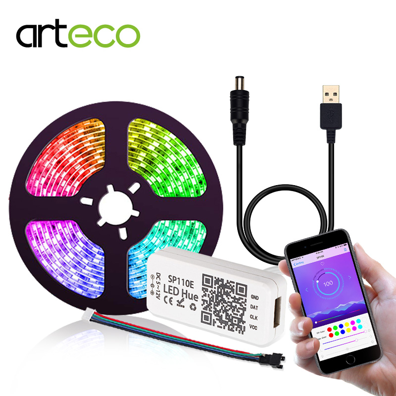 DC 5V LED Strip Light USB <font><b>WS2812b</b></font> 2812 RGB Tape Strip APP Bluetooth Controller <font><b>5050</b></font> TV Back Light Ambilight Pixel Strip 1M 2M 3M image
