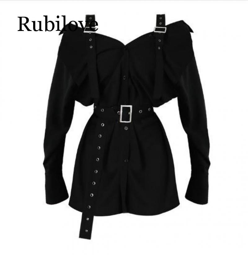Rubilove New Arrival Strapless Belt Long Sleeve Shirt Dress Womens Sexy Slash Neck Buckle Shirts