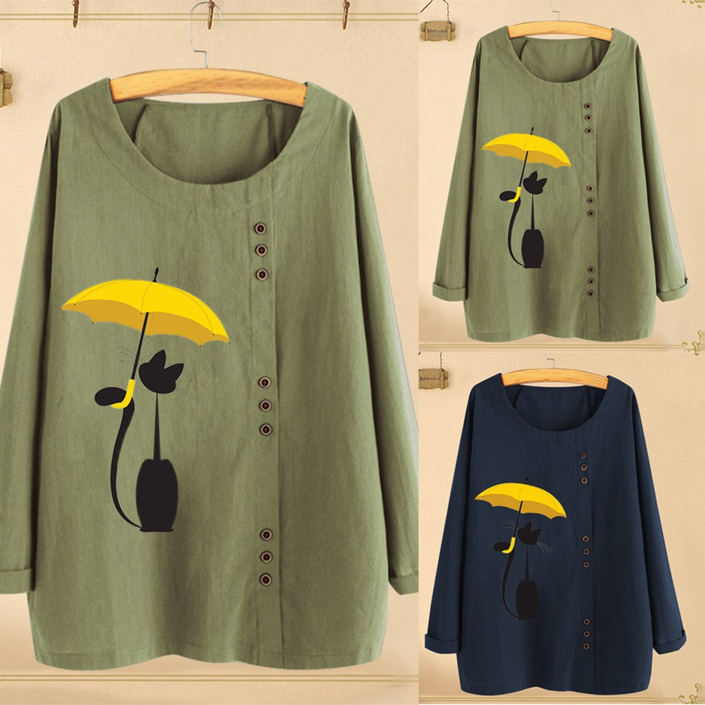 Blouse Women Cat Print Shirt Tops Round Neck Long Sleeve Autumn Fall Ladies Plus Size M~2XL Loose Buttons Casual Blouse Female