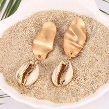 HOCOLE Bohemian Sea Shell Drop Earrings For Women 2019 Fashion Gold Color Pearl Conch Earring Boho Jewelry Wholesale