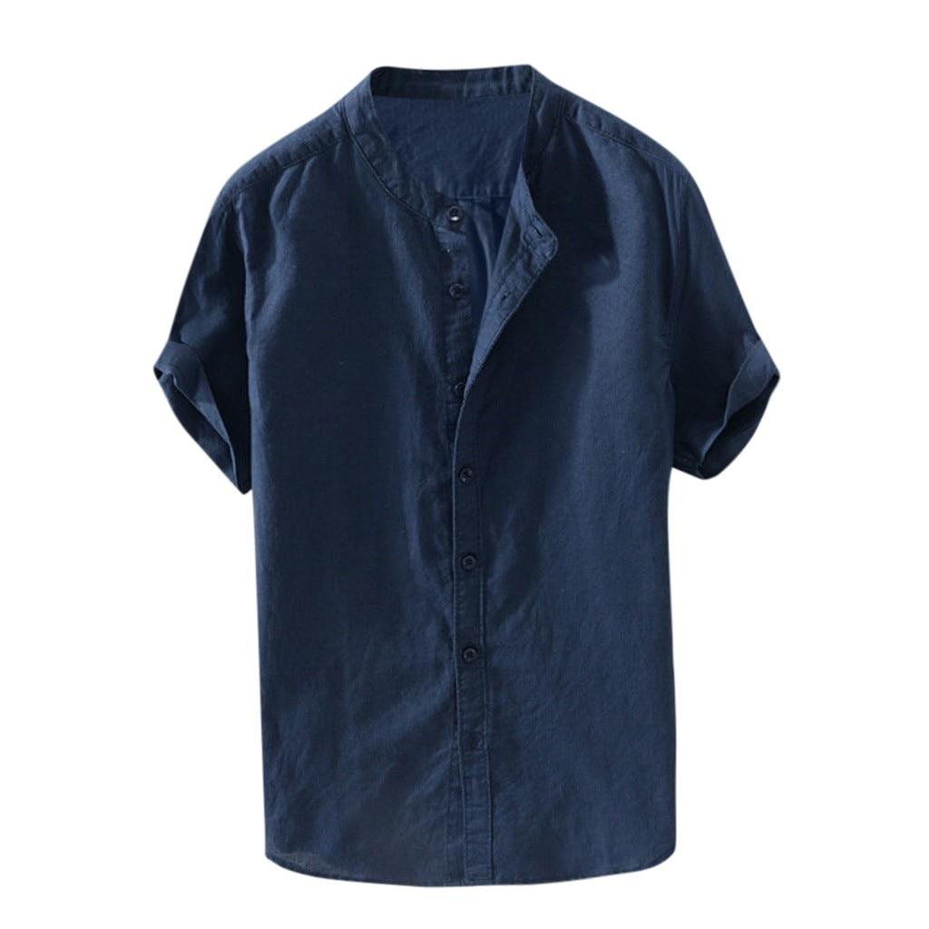 Хит 2019, Мужская мешковатая хлопковая однотонная Ретро блузка с коротким рукавом и пуговицами, Прямая поставка, скидка, бесплатная доставка