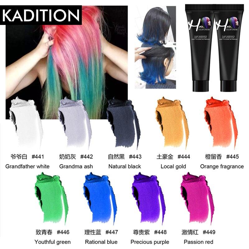 Hair Girls Beauty Hair 9 Colors Hair Dye Color Hair Dye Non-toxic DIY Hair Color Dye Cream Punk Style Blue Grey Purple Hair Dye