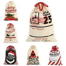 2020 New Year Gift Santa Sacks Personalized Large Claus Bag Custom Christmas Linen Bags Drawstring Cotton