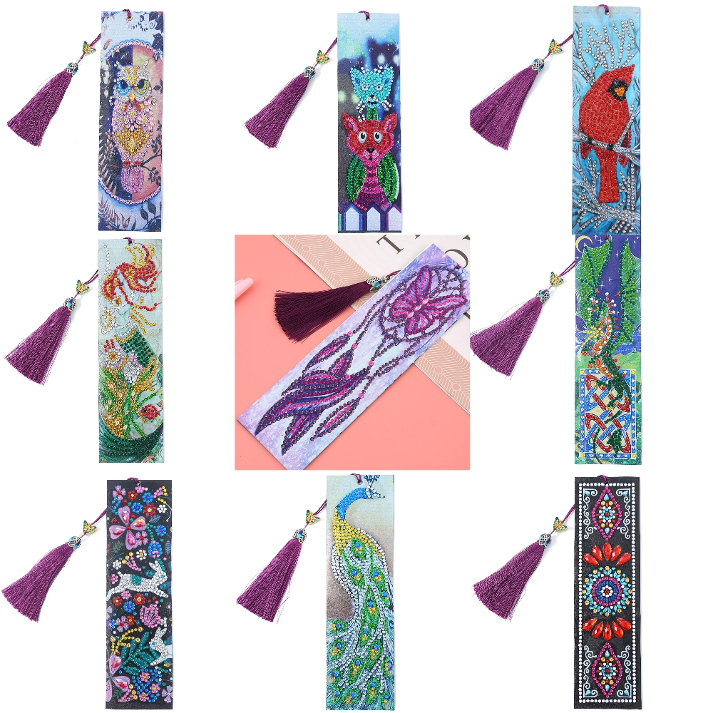 5D DIY Diamond Painting Leather Bookmark Tassel Book Marks Special Shaped Diamond Embroidery DIY Craft Animal, Flower, Chinese