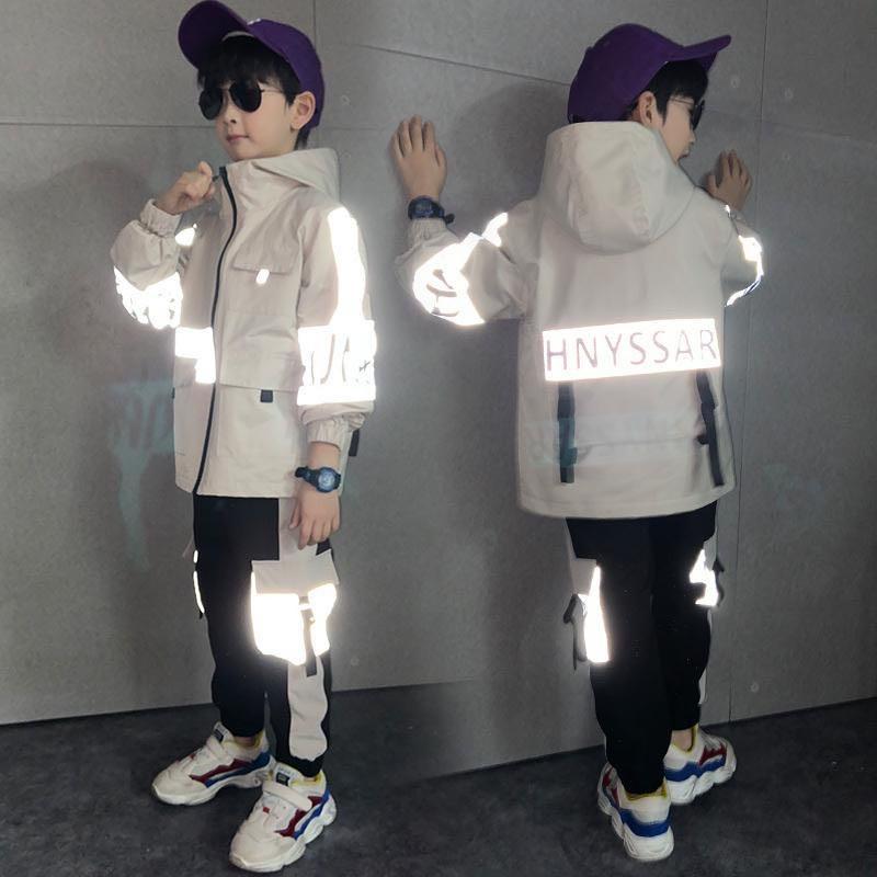 Boy Clothing Boys Spring Sets 2020 New Youth Autumn Sportswear Windproof Hooded Jacket +pants Big Boy Kids Reflective 2 Pcs  Set