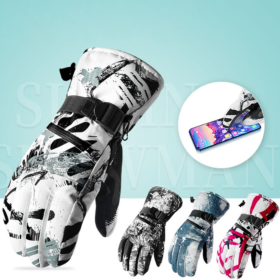 New Thermal Ski Gloves Men Women Winter Fleece Waterproof Warm Snowboard Snow Gloves 3 Fingers Touch Screen For Skiing Riding
