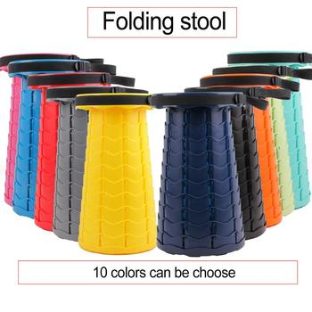 Outdoor Retractable Stool Folding pocket Chiar Portable Camping accessories Convenient Fishing plastic Chairs Foldable small