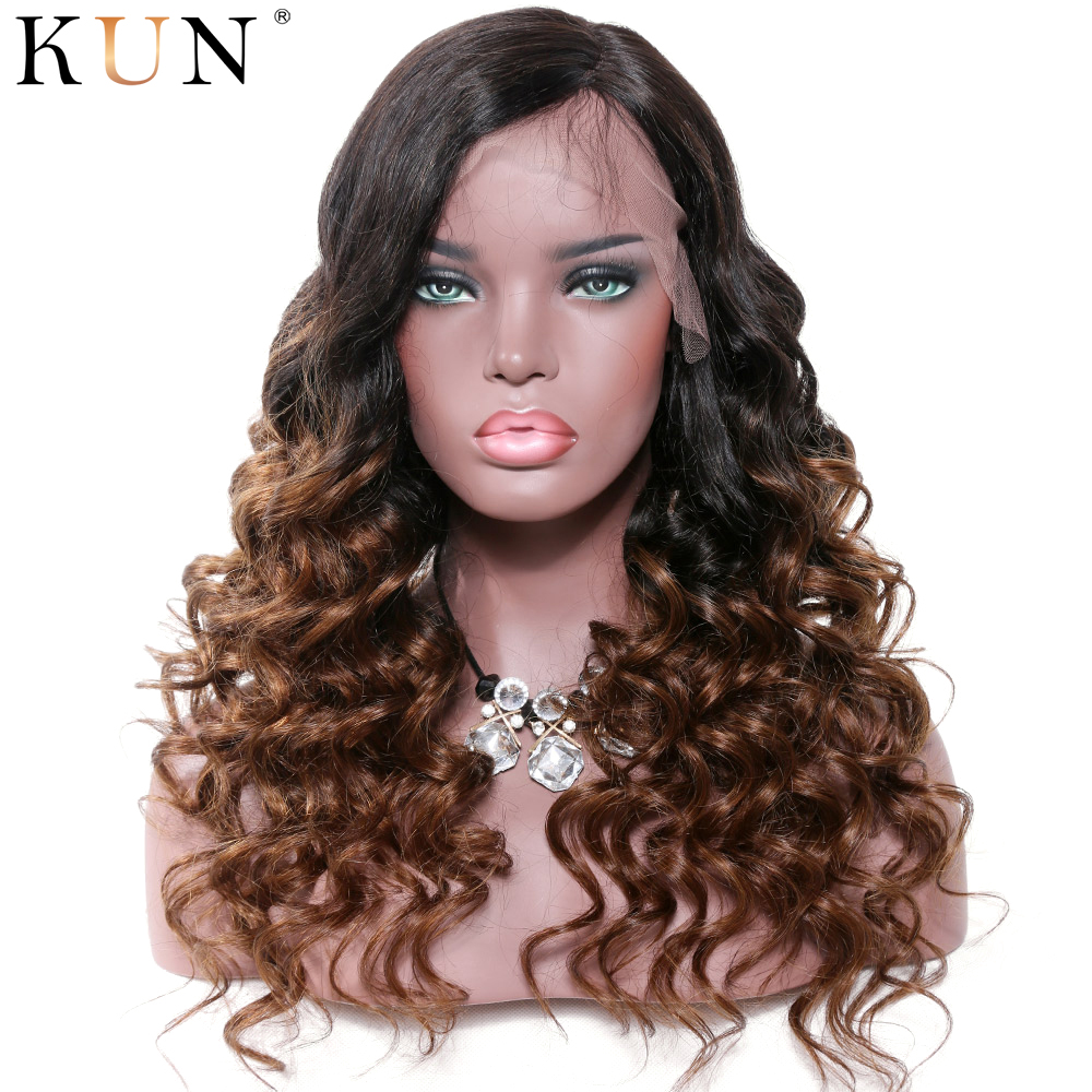 #1B #4 Lace Front Human Hair Wigs Loose Wave Ombre Colored Human Hair Wigs 13x4 13x6 Remy Lace Front Wig Pre Plucked For Women