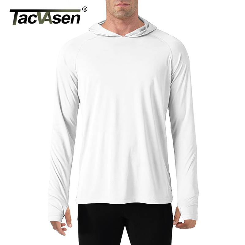 TACVASEN Sun Protection T-Shirts Men Long Sleeve Casual UV-Proof Hooded T-Shirts Breathable Lightweight Performance Hike tshirts