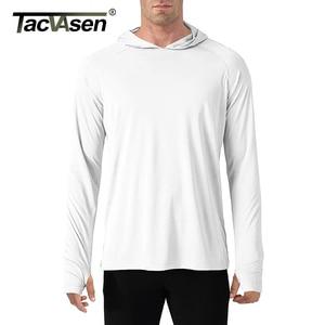 Image 5 - TACVASEN t shirt con protezione solare uomo manica lunga Casual t shirt con cappuccio a prova di UV magliette traspiranti per escursioni leggere