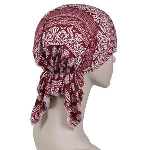 Image 5 - Мусульманский эластичный женский хлопковый шарф тюрбан шляпа для рака химиотерапии аксессуары для выпадения волос