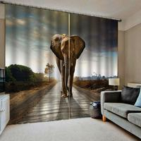 3D Curtain Luxury Blackout Window Curtain Living Room elephant curtains stereoscopic curtains