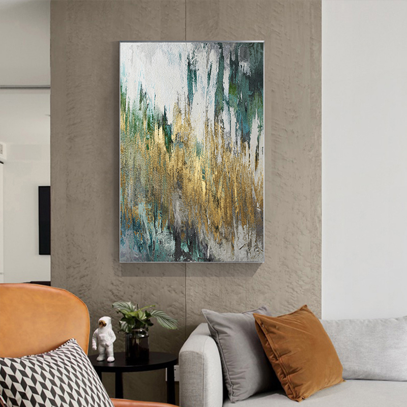 Abstract Flowing Gold Foil Canvas Painting Modern Green Poster Print Expensive Wall Art Picture for Living Room Lobby Art Decor