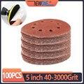 100 шт., красные абразивные наждачные диски с 8 отверстиями, 125 мм, 40 ~ 3000