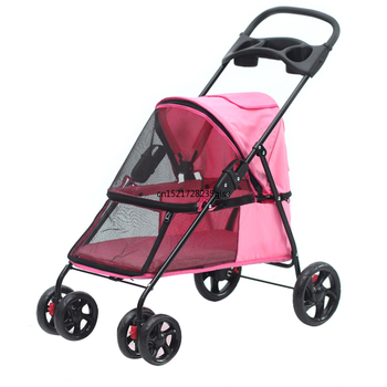 Traveling out Four Wheel Pet Carrier for Little Dog and Cats Super Light and Breathable Oxford Pet Strollers