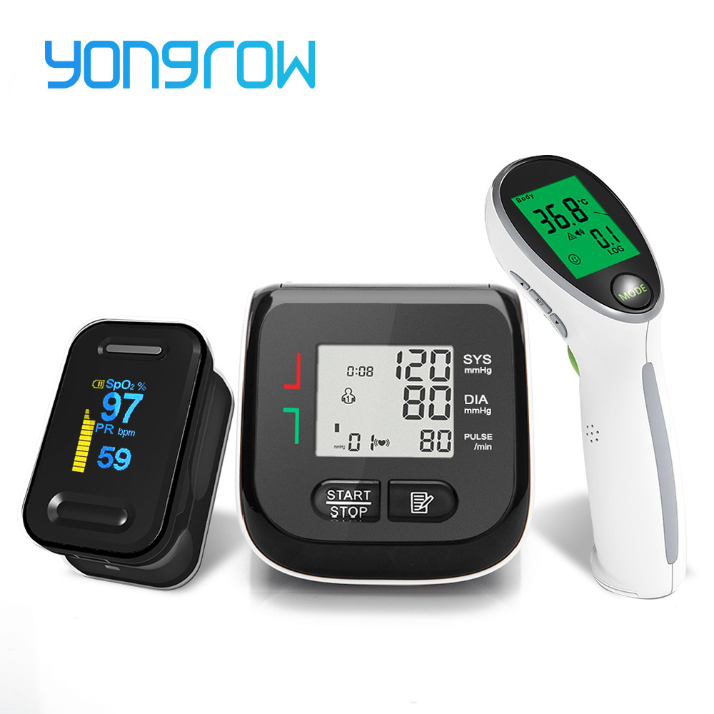 Yongrow Black LED Fingertip Pulse Oximeter & LCD Wrist Blood Pressure Monitor & Baby Ear Infrared Thermometer Family Health Care