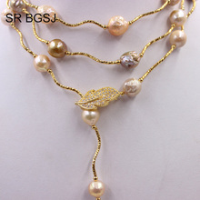 Free Shipping Lavender Edsion FW Pearl Beads Gold Color Leaf Clasp Lady Jewelry Statement Necklace 9 10mm 60""