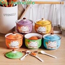 Разноцветный керамический горшок для специй lucky cat в японском