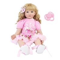 60cm Realistic Reborn Doll Soft Silicone Toddler Babies Curly Hair Girl Pacifier