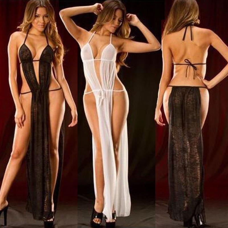 Sexy Nachthemden Dessous Langes Kleid Heißer Erotische Bad Robe Spitze Sexy Frauen Schwarz Weiß Babydoll Nachtwäsche Unterwäsche