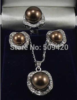 משלוח חינם>>>>> יפה שוקולד פגז פנינת כסף תכשיטי תליון עגילי טבעת סטים
