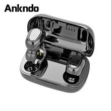 ANKNDO L21 TWS Bluetooth אוזניות אוזניות עם מיקרופון מיני אלחוטי אוזניות משחקי אוזניות לxiaomi K30 8 ספורט מוסיקה אוזניות