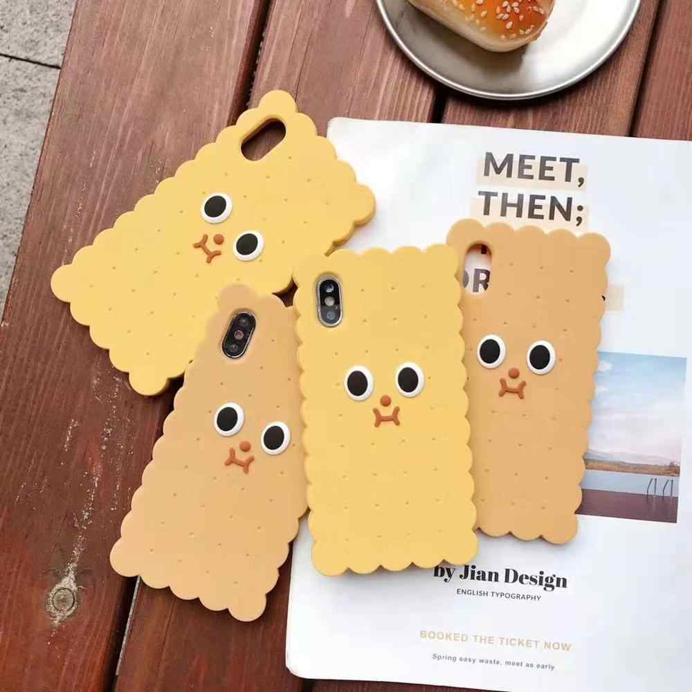 Funny 3D Cookies phone case for iphone 11 pro Max XR XS MAX X soft silicone big eyes capa cover for iphone 7 8 6s 6 plus coque