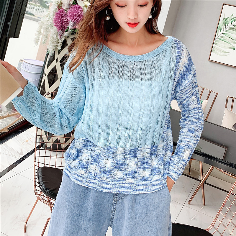 Focal20 Streetwear Geometric Women Sweater Top Loose Crew Neck Female Jumpers Pullovers Casual Spring Autumn Lady Sweaters Tops 5