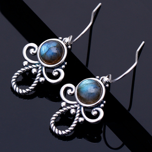 Bohemia Style Natural Labradorite Drop Earrings For Women Silver Fine Gemstone Jewelry Wedding Party Anniversary Birthday Gift