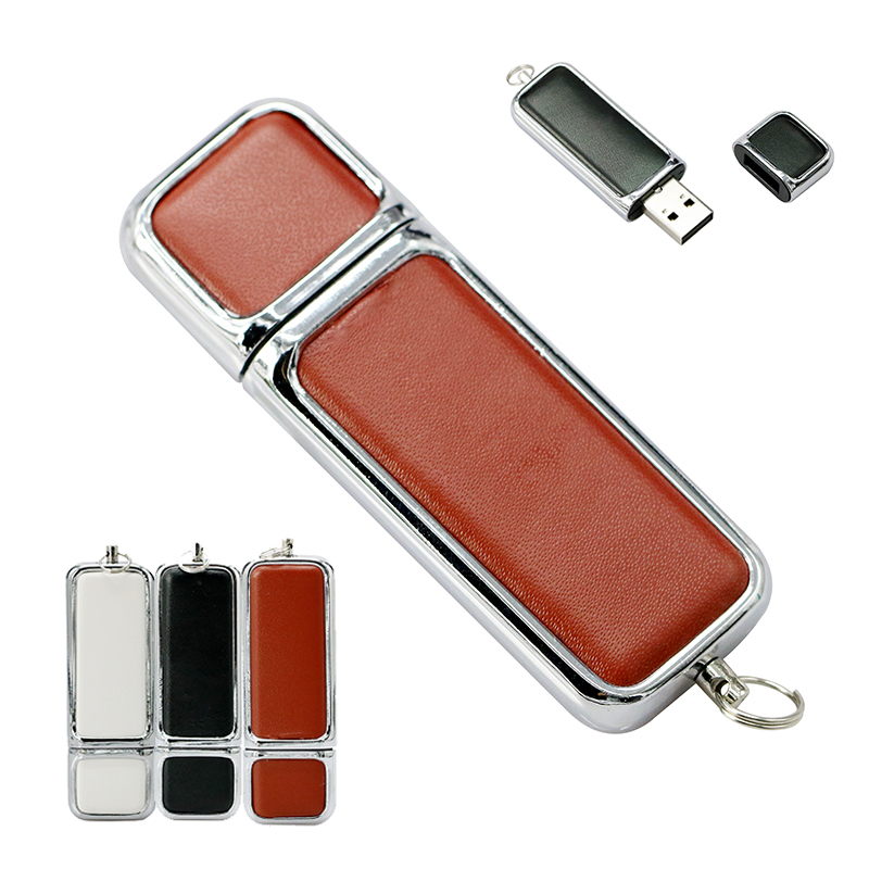 Simple Leather Business USB Teacher Gift Pen Drive 16GB 64GB 32GB 4GB 128 8 Gb Pendrive Cle Usb Flash Memory Stick With Key Ring