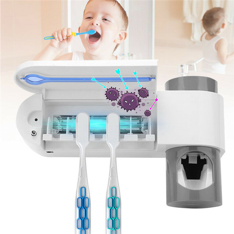 2019 New 2 In 1 UV Toothbrush Sterilizer Toothbrush Holder Automatic Toothpaste Squeezers Dispenser Home Bathroom Set