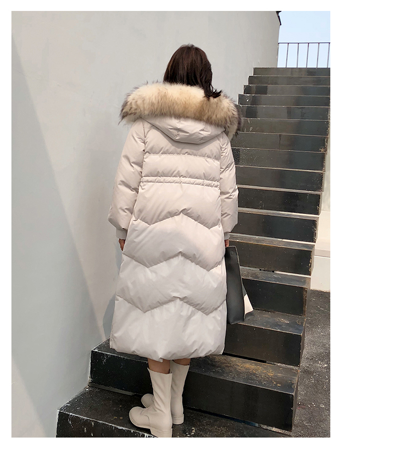 Winter Coat Women 90% Duck Down Jacke Thicken Warm Luxury Natural Raccoon Fur Collar Female Long Hoody Parka Tops LX2481