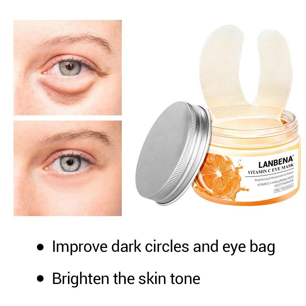 50PCS LANBENA Vitamin C Hyaluronic Acid Eye Mask Serum Remove Eye Bag Eye Lines Dark Circle Firming Brighten Lifting Repair