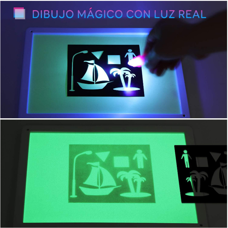 Draw With Light Fun Painted Writing Board Ye Guang Ban Children Shining Magic Fluorescent Board 3D Drawing Board