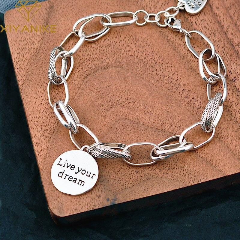 Pulsera XIYANIKE de Plata de Ley 925, novedad de verano, cadena para mujer, versión coreana, Simple, Retro, doble círculo, pulsera, regalos de moda