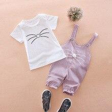 Summer Fashion Children's Clothing Cute Boys Girls Casual Shirts Bib Pants 2Pcs/Sets Toddler Cartoon Cotton Kids Clothes Suits