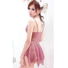 Hot Sale Women Pink sexy underwear women See through Lace Babydoll Halter Backless Lingerie G-string Dress Set все цены