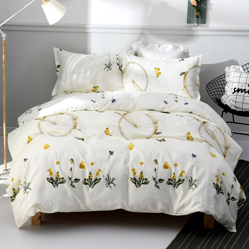 [Xuan Yan] Summer New Style 100% Cotton 4-piece Set Printed Reactive Printing And Dyeing Sheet Pure Cotton A Generation Of Fat T