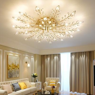 Скандинавский Роскошный Ретро Современный Цветочный Европейский хрустальный светильник американский потолочный светильник гостиная