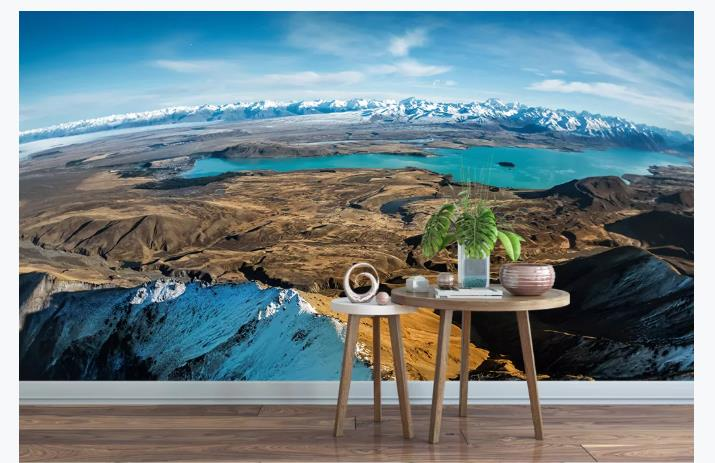 Nature Scenery Wallpapers 3D Living Room Wallpaper Mural Blue Sky Lake Wallpaper For Walls 3 D