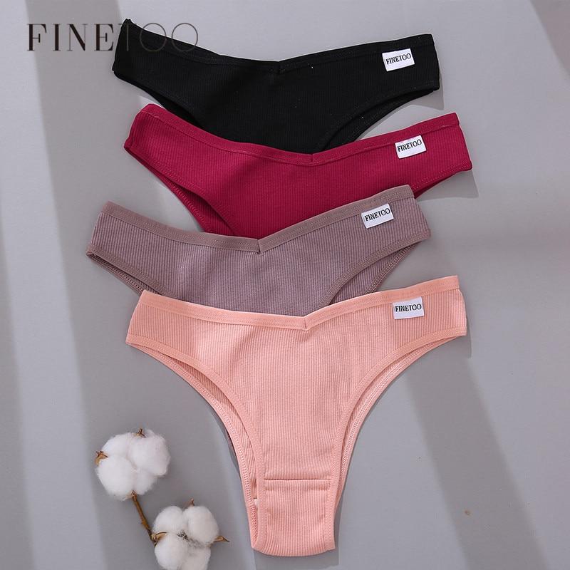 FINETOO Algodão Calcinhas Brasileiras Mulheres Sexy V Cintura G-corda Roupa Interior Feminina T-back Cuecas M-XL Lady Calcinha do Biquíni 3 Pçs/set