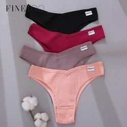 FINETOO Cotton Brazilian Panties Women Sexy V Waist G-String Underwear Female T-back Underpants M-XL Lady Bikini Panty 3Pcs/set