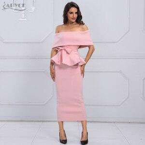 Image 2 - Adyce bow & ruffles 발목 길이 연예인 저녁 bodycon 파티 드레스 2020 새로운 화이트 슬래시 목 짧은 소매 핫 클럽 드레스 여성