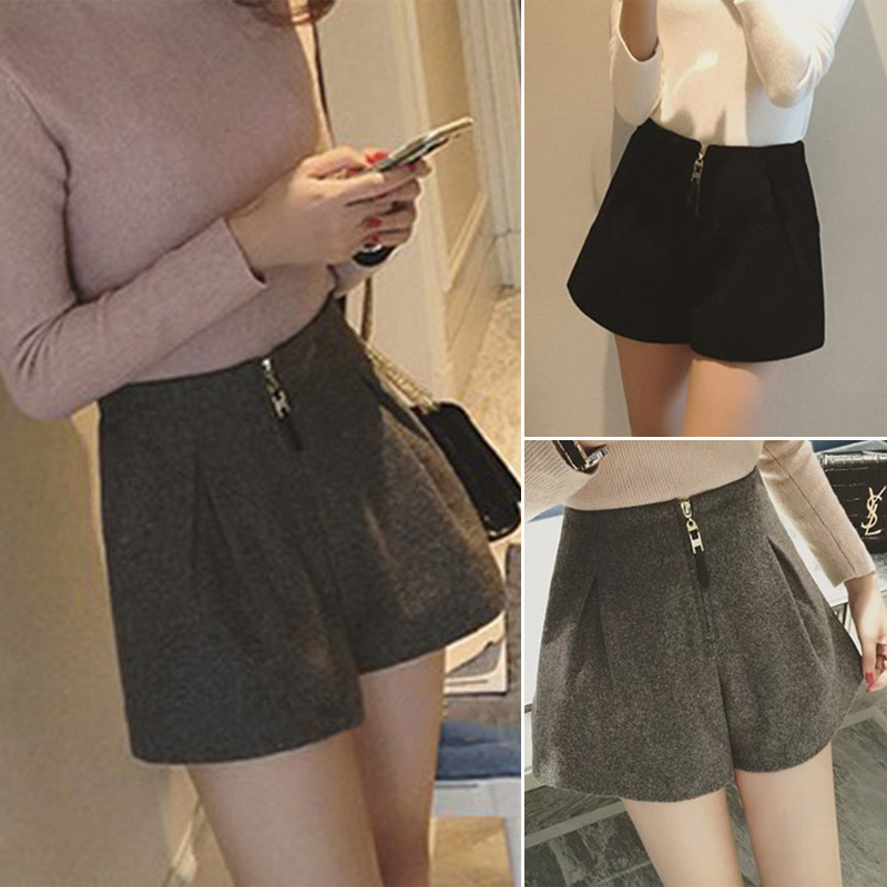 Hot Sale Women Woolen Wide Leg Shorts Loose High Waist Zipper Casual Solid Color Shorts CXZ