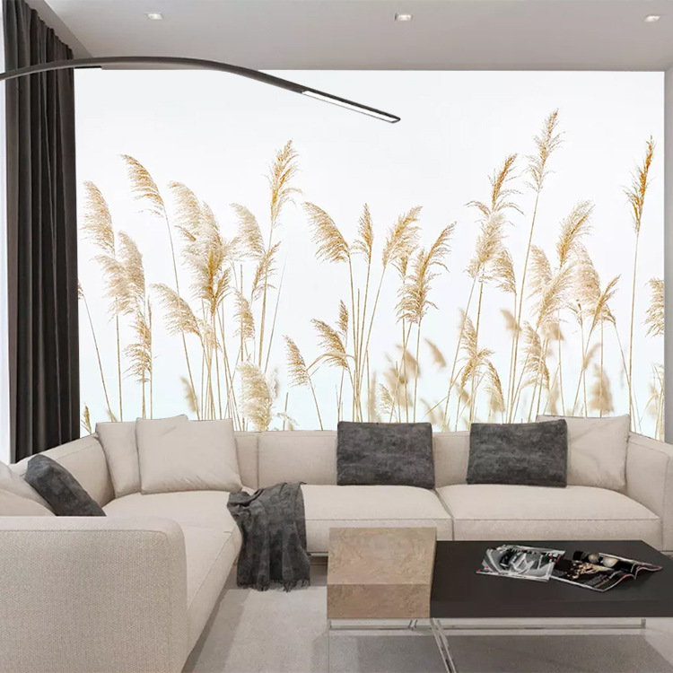 Simple Scenery TV Backdrop Mural Fresh Reeds Wallpaper Art Wallpaper Living Room Bedroom Seamless Wall Cloth