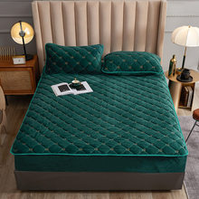 Embroidery Coral Fleece Mattress Protector Fitted Sheet Style Cover for Mattress Solid Color Quilted Thick Soft Pad for Bed
