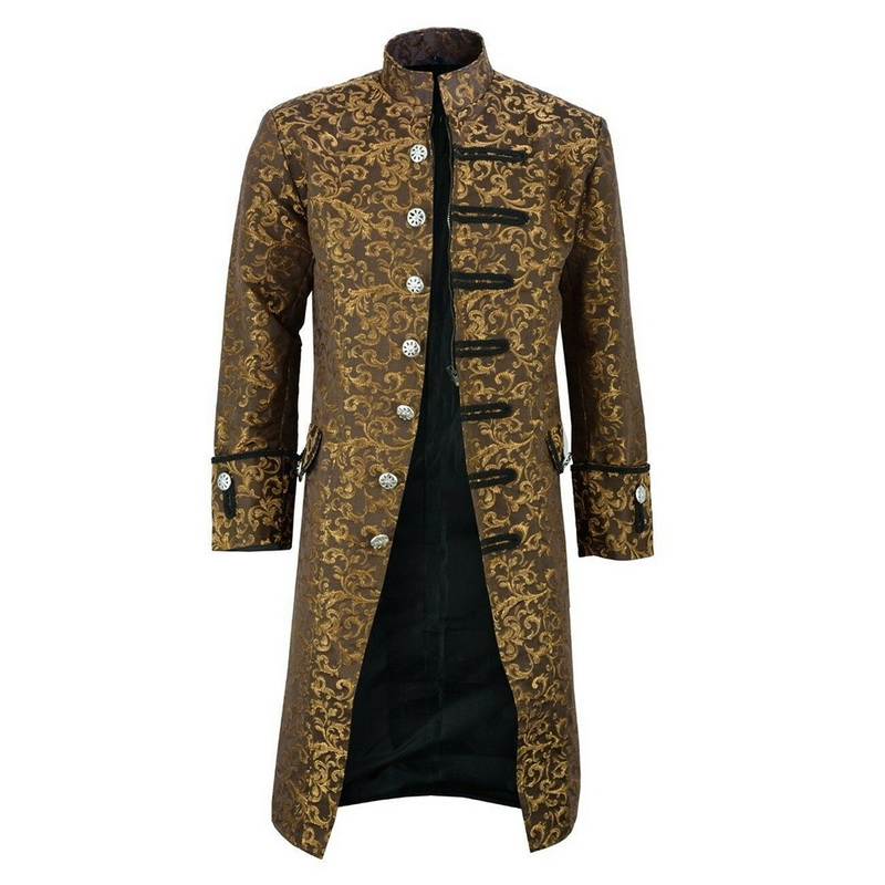 MoneRffi Men  Edwardian Steampunk Trench Coat Frock Outwear Vintage  Medieval Renaissance Jacket Cosplay Costume